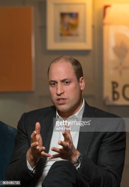 Prince William Duke of Cambridge speaks during a visit to meet staff volunteers and supporters of 'Campaign Against Living Miserably' a charity...