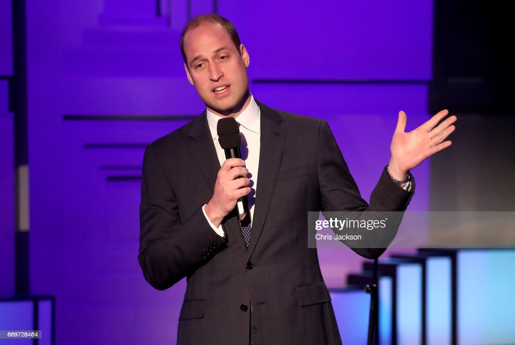 Prince William, Duke of Cambridge speaks on stage at the screening of the BBC documentary 'Mind over Marathon' at BBC Radio Theatre on April 18, 2017 in London, England. The screening also launches the BBC season on mental health.