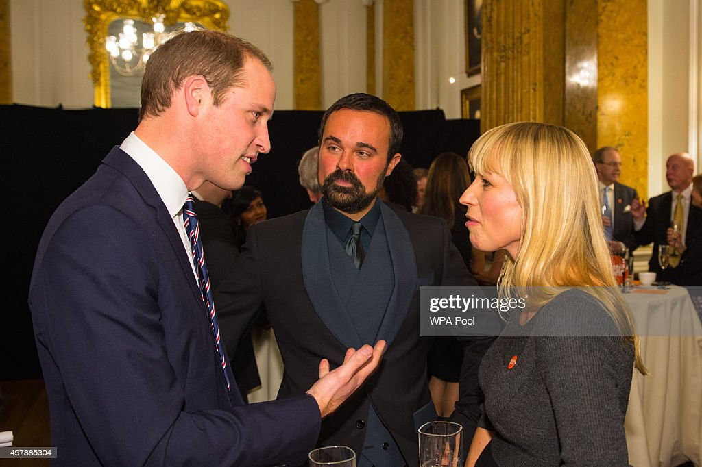 Prince William, Duke of Cambridge speaks talks to Evgeny Lebedev (C) and Centrepoint Ambassador Sara Cox at the launch of the Centrepoint Awards at the HSBC private bank on November 19, 2015 in London, England. The event is the first awards ceremony for the youth homeless charity, celebrating the achievements of young people who have changed the direction of their lives after experiencing homelessness.