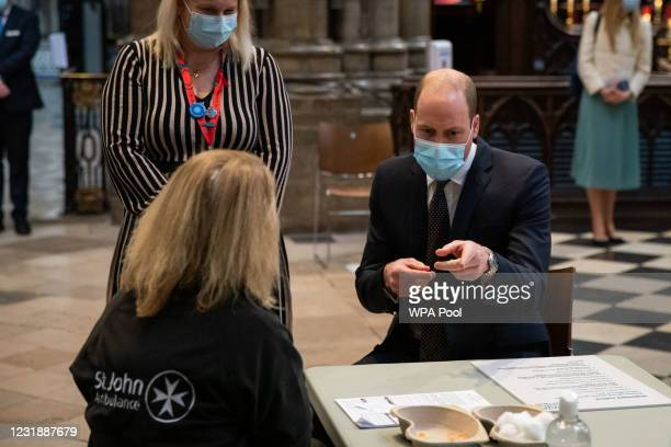 Prince William, Duke of Cambridge speaks to a St John Ambulance volunteer with Pippa Nightingale , chief nurse at Chelsea and Westminster Hospital...