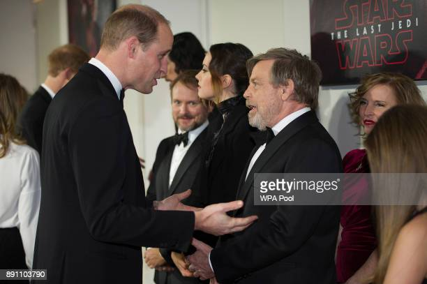 Prince William Duke of Cambridge speaks to actor Mark Hamill as they attend the European Premiere of 'Star Wars The Last Jedi' at Royal Albert Hall...