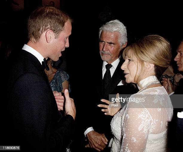 Prince William Duke of Cambridge speaks to Barbara Streisand and her husband James Brolin at the 2011 BAFTA Brits To Watch Event at the Belasco...