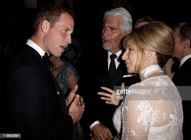 Prince William, Duke of Cambridge speaks to Barbara Streisand and her husband James Brolin at the 2011 BAFTA Brits To Watch Event at the Belasco...