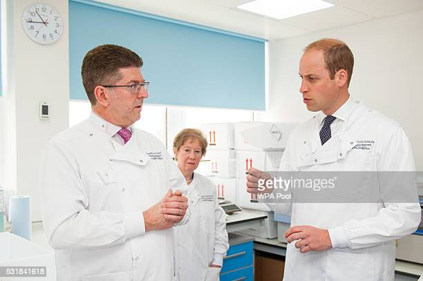 Prince William Duke of Cambridge speaks to Consultant Medical Oncologist Professor Stephen Johnston during a visit to the Royal Marsden NHS...