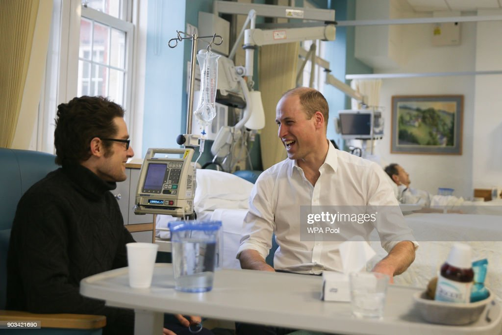 Prince William, Duke of Cambridge speaks to patient Will Cowell during his visit to The Royal Marsden Hospital on January 10, 2018 in London, England. Prince William was visiting the hospital to view two pioneering robotic surgeries.