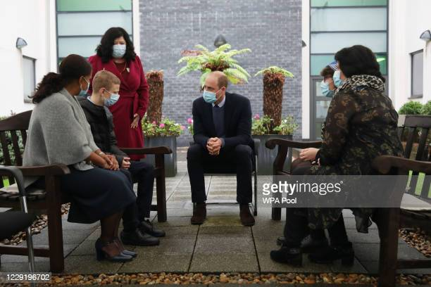 Prince William Duke of Cambridge speaks to staff and patients to mark the construction of the groundbreaking Oak cancer centre at Royal Marsden...