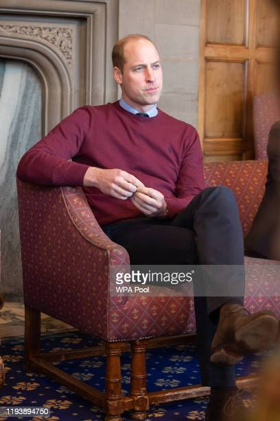 Prince William, Duke of Cambridge speaks to young people and employers at Bradford Town Hall on January 15, 2020 in Bradford, United Kingdom.