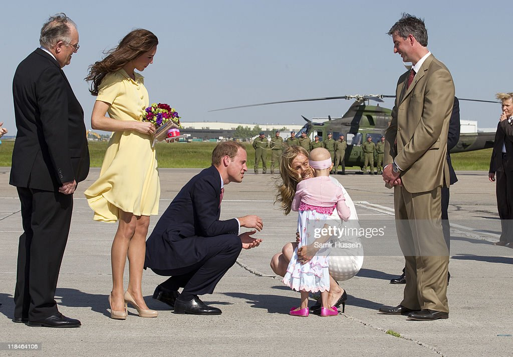 Prince William, Duke of Cambridge speaks with 6 year old terminal cancer sufferer Diamond at Calgary Airport on day 8 of the Royal couple's tour of North America on July 7, 2011 in Calgary, Canada.