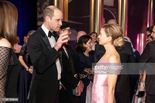Prince William, Duke of Cambridge speaks with BAFTA winner Renee Zellweger at the EE British Academy Film Awards 2020 at Royal Albert Hall on...