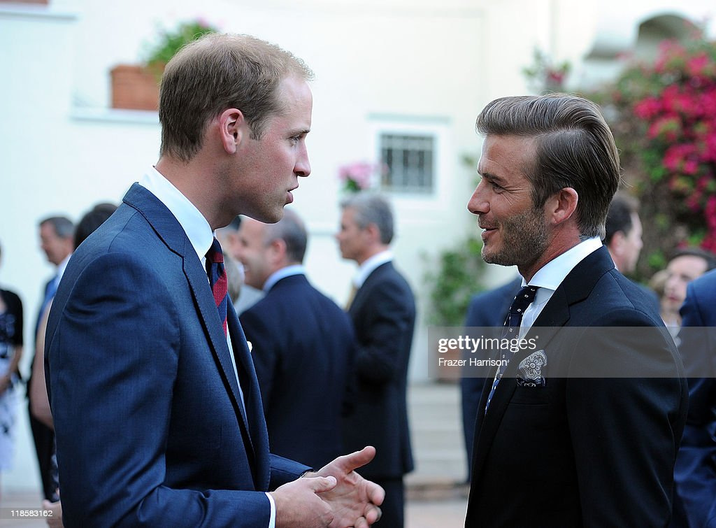Prince William, Duke of Cambridge, speaks with David Beckham at a private reception held at the British Consul-General's residence on July 8, 2011 in Los Angeles, California. The newly married Royal Couple are on the ninth day of their first joint overseas tour. The 12 day visit to North America winds down with a three day visit to Southern California.