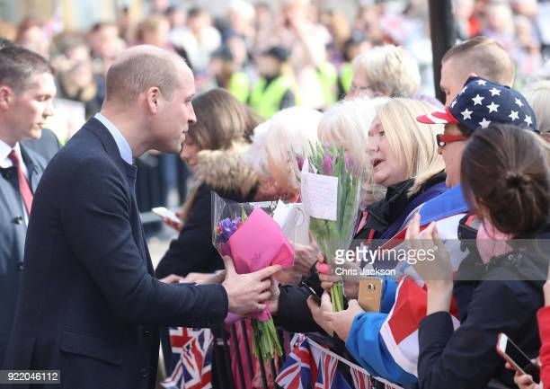 Prince William Duke of Cambridge speaks with people in the crowd as he visits The Fire Station one of Sunderland's most iconic buildings recently...
