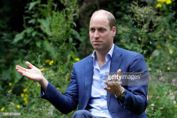 Prince William, Duke of Cambridge speaks with service users during a visit to the Garden House part of the Light Project on July 16, 2020 in...