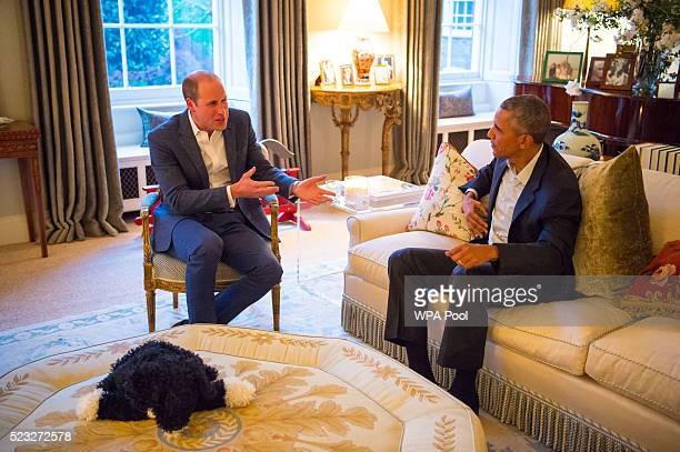 Prince William Duke of Cambridge speaks with US President Barack Obama in the Drawing Room of Apartment 1A Kensington Palace as they attend a dinner...