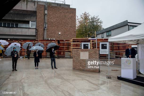 Prince William Duke of Cambridge stands near a plaque to mark the construction of the groundbreaking Oak cancer centre at Royal Marsden Hospital on...