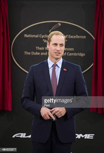 Prince William Duke of Cambridge starts a cycling race as he visits the Avanti Drome on April 12 2014 in Hamilton New Zealand The Duke and Duchess of...