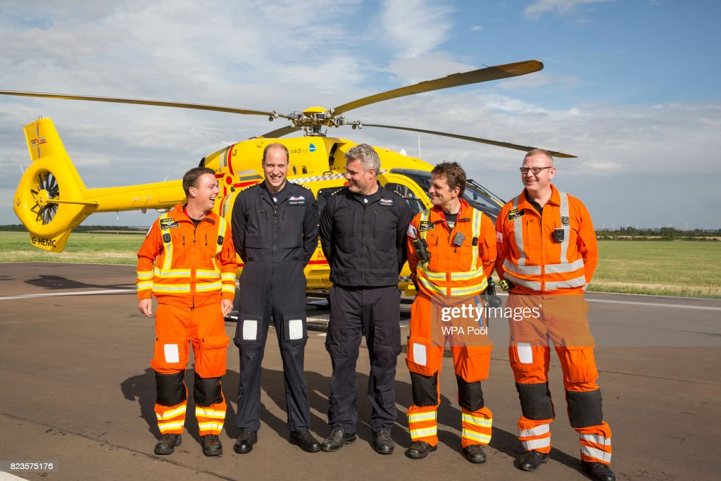 Prince William, Duke of Cambridge (2L) starts his final shift with the East Anglian Air Ambulance based out of Marshall Airport on July 27, 2017 near Cambridge, England.