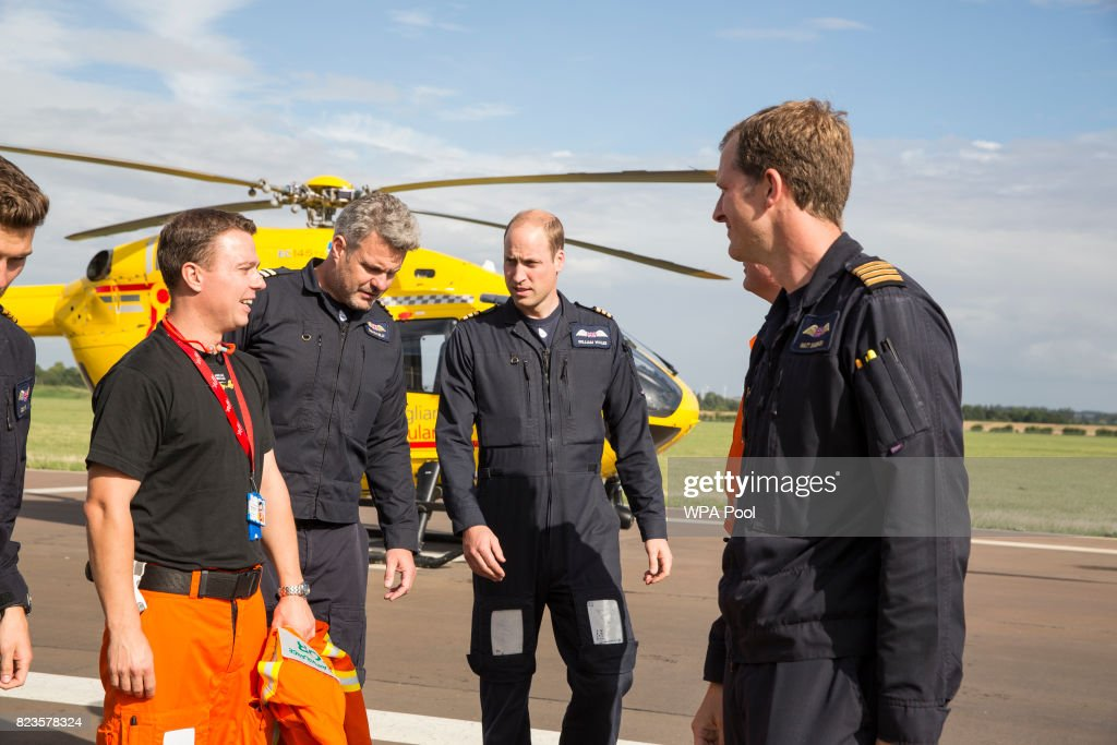 Prince William, Duke of Cambridge starts his final shift with the East Anglian Air Ambulance based out of Marshall Airport on July 27, 2017 near Cambridge, England.