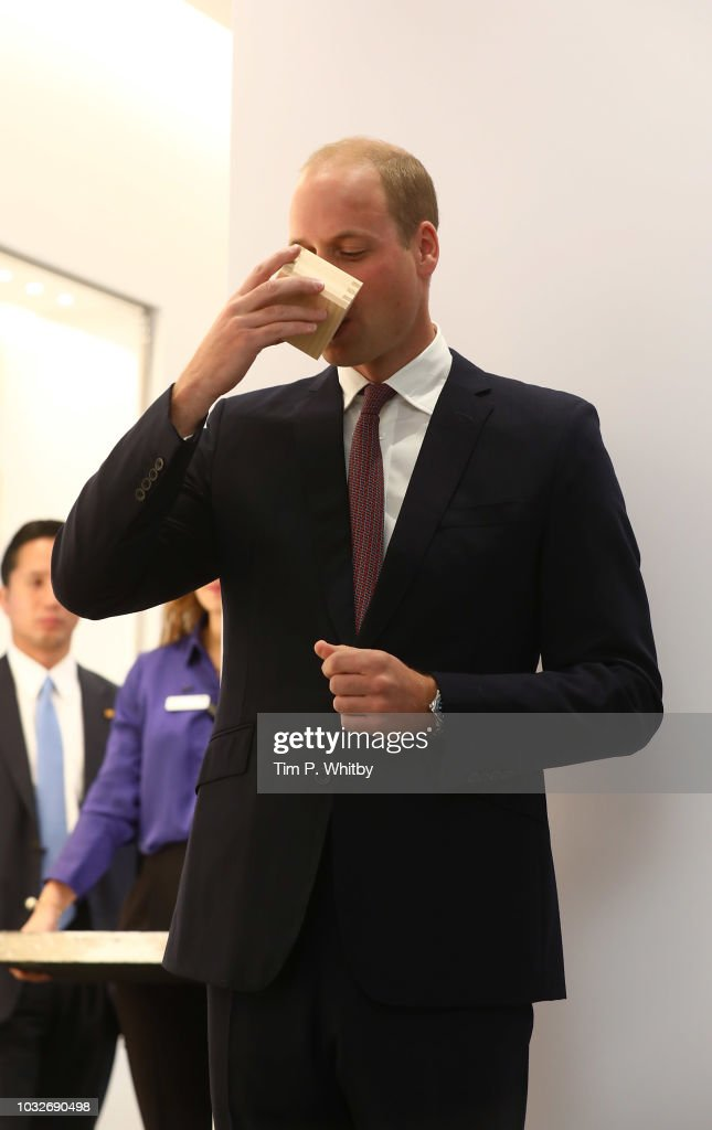 Prince William, Duke of Cambridge takes a sip of sake during The Official Opening of Japan House London, the new Cultural Home of Japan in the UK on September 13, 2018 in London, England.