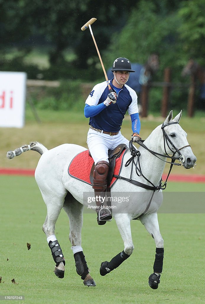 Prince William, Duke of Cambridge takes part in a charity polo match at Beaufort Polo Club on June 16, 2013 in Tetbury, England.
