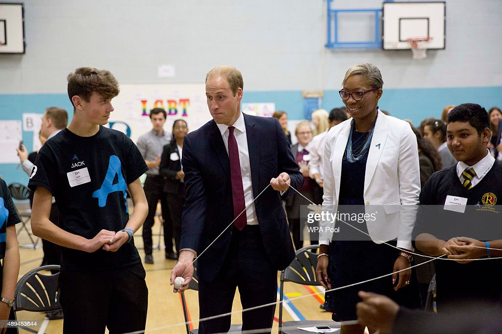 Prince William, Duke Of Cambridge takes part in a group exercise during his visit to Hammersmith Academy to support the Diana Award's Anti-bullying Campaign #Back2School on September 21, 2015 in London, England. The Diana Award was set up in memory of Prince William's mother Diana Princess of Wales.