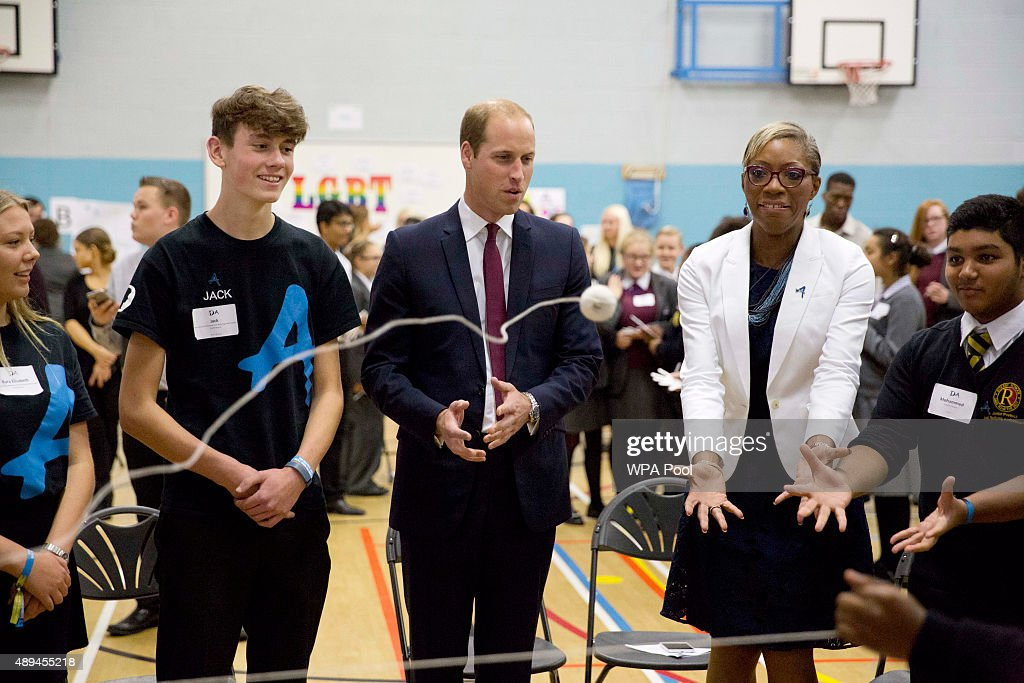 Prince William, Duke Of Cambridge (C) takes part in a group exercise during his visit to Hammersmith Academy to support the Diana Award's Anti-bullying Campaign #Back2School on September 21, 2015 in London, England. The Diana Award was set up in memory of Prince William's mother Diana Princess of Wales.