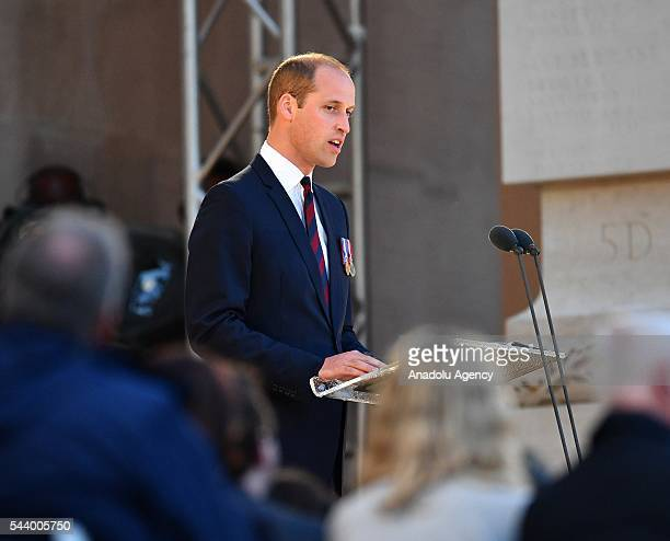 Prince William, Duke of Cambridge takes part in a vigil at Thiepval Memorial to the Missing of the Somme during Somme Centenary Commemorations on...