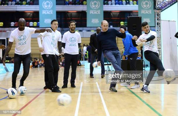 Prince William Duke of Cambridge takes part in football drills sessions during the graduation ceremony of 30 Young Peace Leaders from Football for...