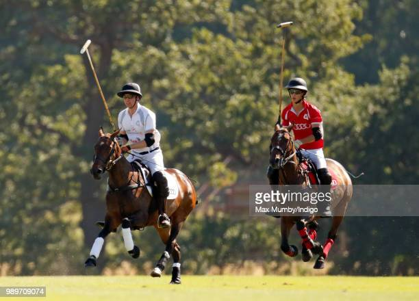 Prince William Duke of Cambridge takes part in the Audi Polo Challenge at Coworth Park Polo Club on June 30 2018 in Ascot England