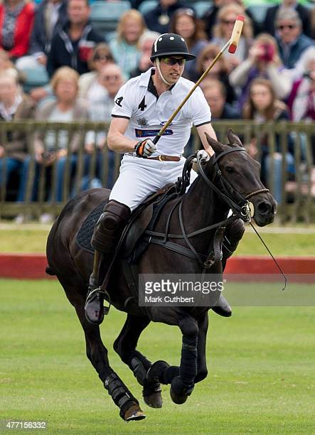 Prince William Duke of Cambridge takes part in the Gigaset Charity Polo Match at Beaufort Polo Club on June 14 2015 in Tetbury England