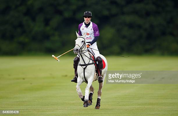 Prince William Duke of Cambridge takes part in the Jerudong Trophy polo match at Cirencester Park Polo Club on June 25 2016 in Cirencester England