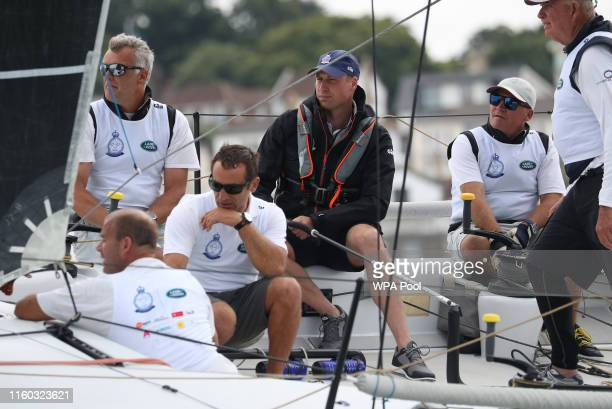 Prince William Duke of Cambridge takes part in the King's Cup regatta on August 8 2019 at Cowes on the Isle of Wight England The royal couple are...