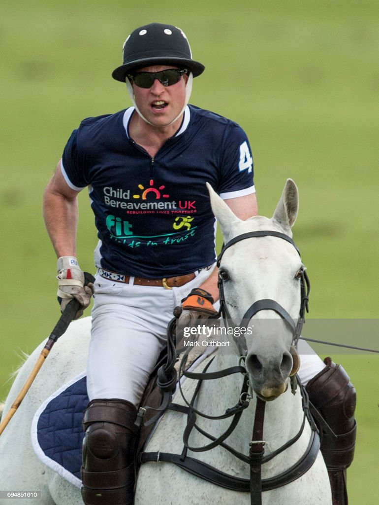 Prince William, Duke of Cambridge taking part in The Maserati Royal Polo Trophy match during The Gloucestershire Festival of Polo at Beaufort Polo Club on June 11, 2017 in Tetbury, England.