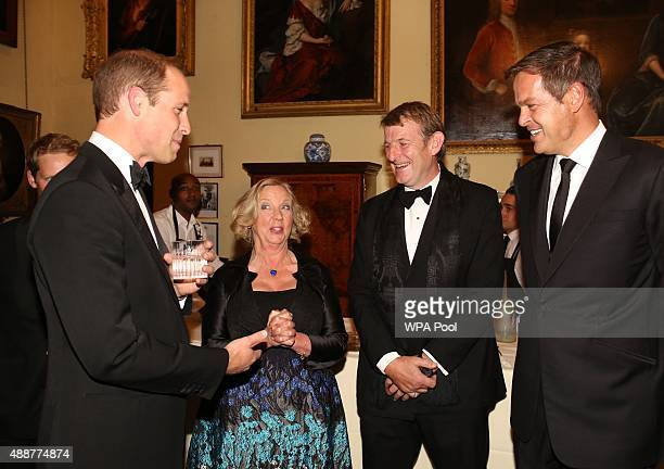 Prince William Duke of Cambridge talks to guests including Deborah Meaden with husband Paul Farmer and Peter Jones during the Tusk Trust conservation...