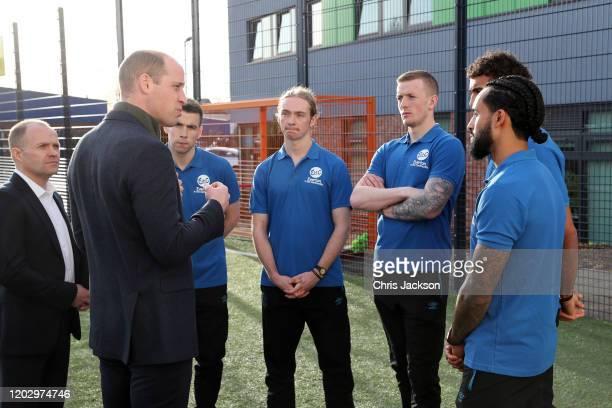 Prince William, Duke of Cambridge talks to players of Everton F.C. Seamus Coleman, Tom Davies, Jordan Pickford, Dominic Calvert-Lewin and Theo...
