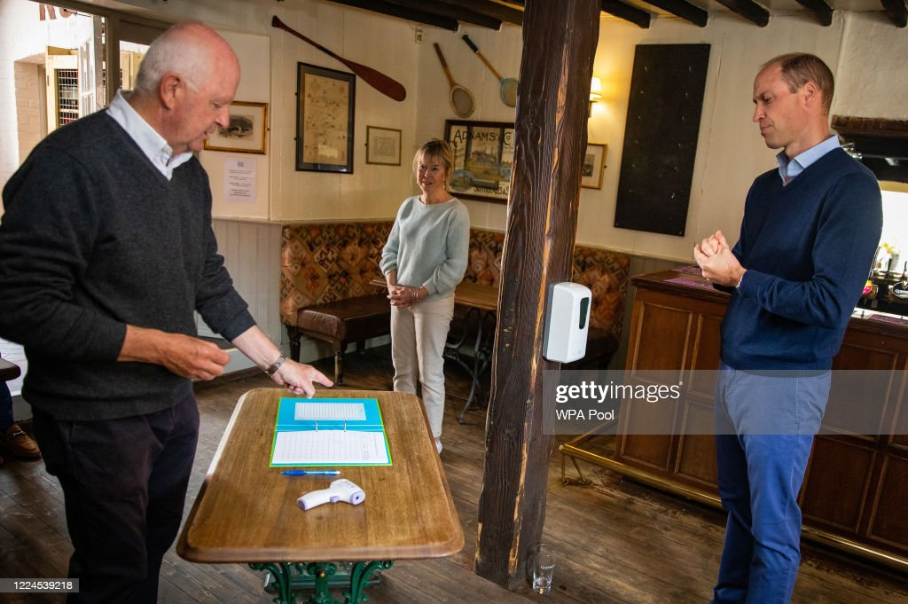 The Duke Of Cambridge Visits A Pub Ahead Of Reopening : News Photo