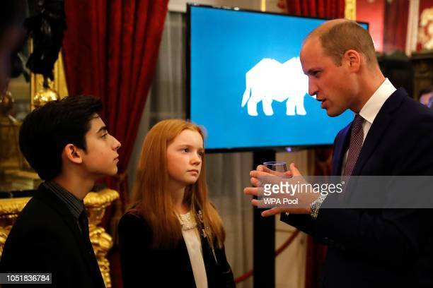 Prince William Duke of Cambridge talks with Bella Lack youth ambassador for the Born Free Foundation and Aidan Gallagher United Nations Ambassador...