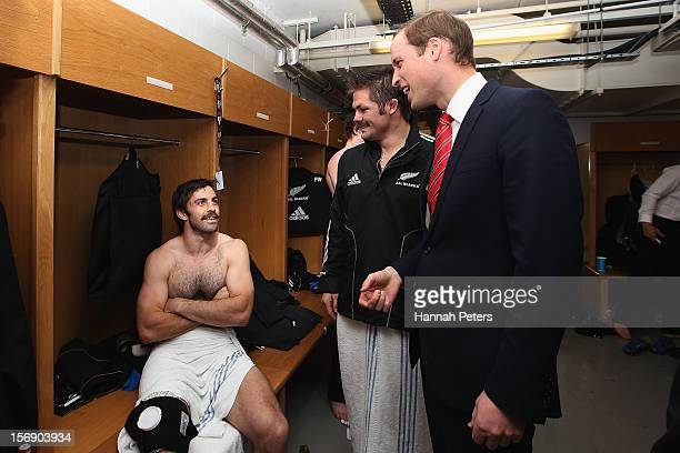 Prince William Duke of Cambridge talks with Richie McCaw and Conrad Smith of the All Blacks following the international match between Wales and New...
