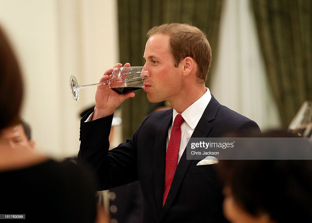 Prince William, Duke of Cambridge toasts at The Istana on day 1 of his Diamond Jubilee tour on September 11, 2012 in Singapore. Prince William, Duke of Cambridge and Catherine, Duchess of Cambridge are on a Diamond Jubilee Tour of the Far East taking in Singapore, Malaysia, the Solomon Islands and the tiny Pacific Island of Tuvalu.