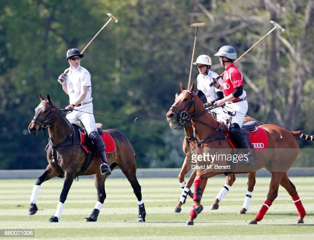 Prince William Duke of Cambridge Tom Morley and James Harper attend the Audi Polo Challenge at Coworth Park on May 7 2017 in London United Kingdom