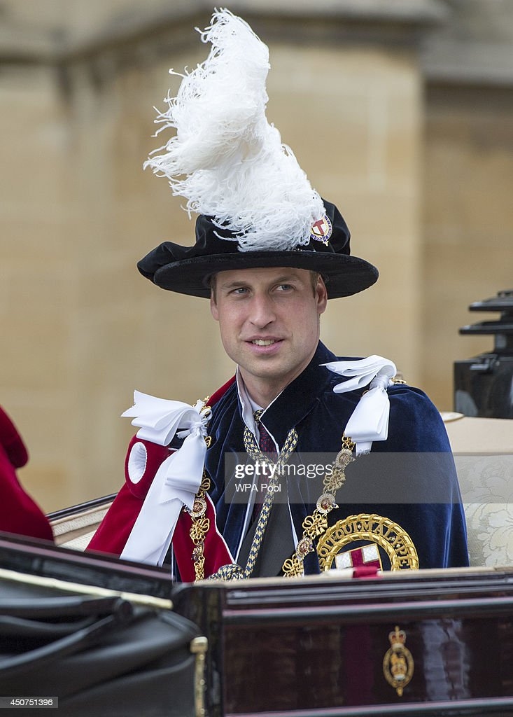 Prince William, Duke of Cambridge travel by carriage after the Most Noble Order of the Garter Ceremony on June 16, 2014 in Windsor, England. The Order of the Garter is the senior and oldest British Order of Chivalry, founded by Edward III in 1348. Membership in the order is limited to the sovereign, the Prince of Wales, and no more than twenty-four members.