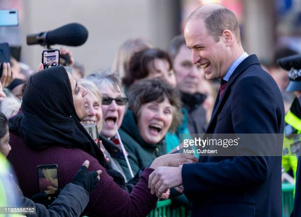 Prince William Duke of Cambridge visits City Hall in Bradfords Centenary Square where he had a selfie taken with a member of the public during a...