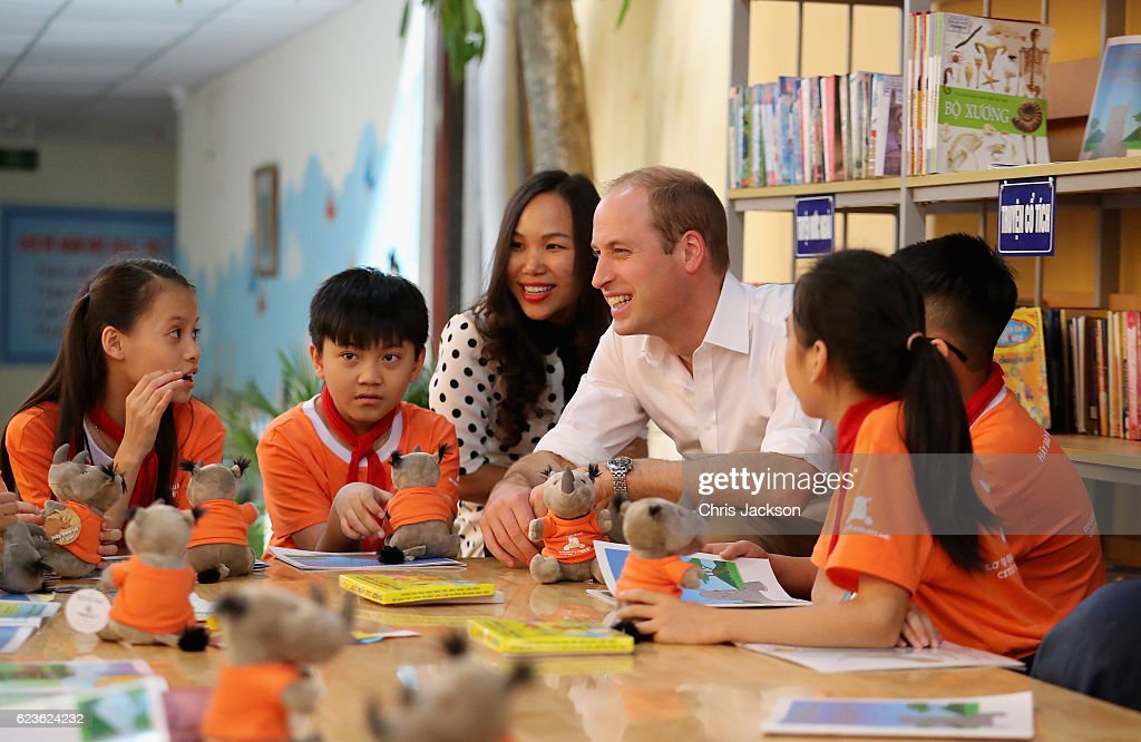 Prince William, Duke of Cambridge visits Hong Ha Primary School during a two day visit to Vietnam on November 16, 2016 in Hanoi, Vietnam. The Duke is in Vietnam primarily to attend the third International Conference on the Illegal Wildlife Trade.
