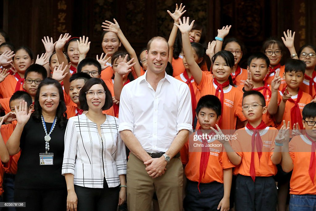 Prince William, Duke of Cambridge visits Hong Ha Primary School on Lan Ong Street on the first day of an official visit on November 16, 2016 in Hanoi, Vietnam. The Duke of Cambridge is attending the third International Wildlife Trade Conference.