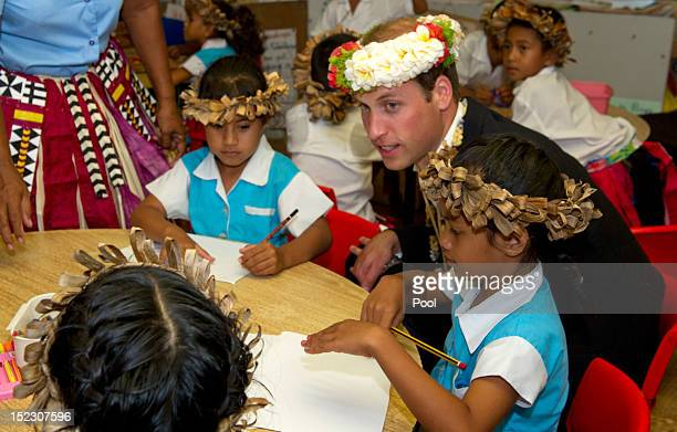 Prince William, Duke of Cambridge visits Nauti Primary School on September 18, 2012 in Tuvalu. Prince William, Duke of Cambridge and Catherine,...