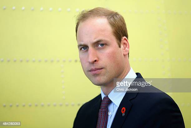 Prince William Duke of Cambridge visits Pacific Aerospace on April 12 2014 in Hamilton New Zealand The Duke and Duchess of Cambridge are on a...
