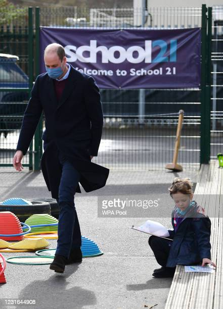 Prince William, Duke of Cambridge visits School 21 in Stratford on March 11, 2021 in London, England. The Duke and Duchess of Cambridge visited the...
