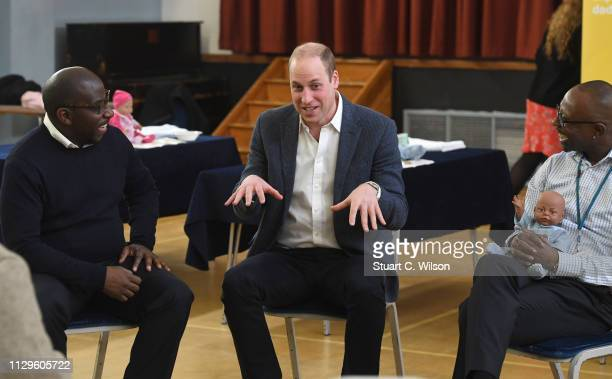 Prince William Duke of Cambridge visits the 'Future Men' Fathers Development Programme at the Abbey Centre on February 14 2019 in London England