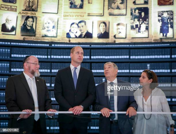Prince William Duke of Cambridge visits the Hall of Names with the UK's Chief Rabbi Ephraim Mirvis at Yad Vashem Holocaust Memorial and Museum during...