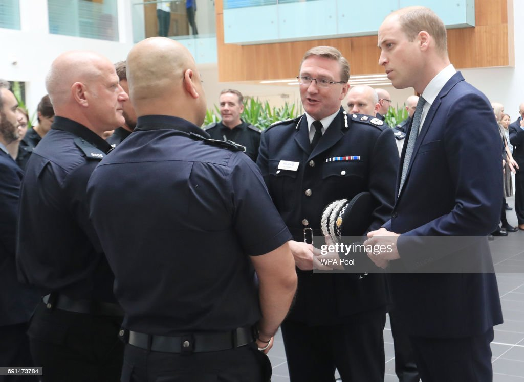 Prince William, Duke of Cambridge visits the headquarters of Greater Manchester Police where he met those involved in the response of last week's suicide bomb attack at the Manchester Arena which killed 22 people on June 2, 2017 in Manchester, England.