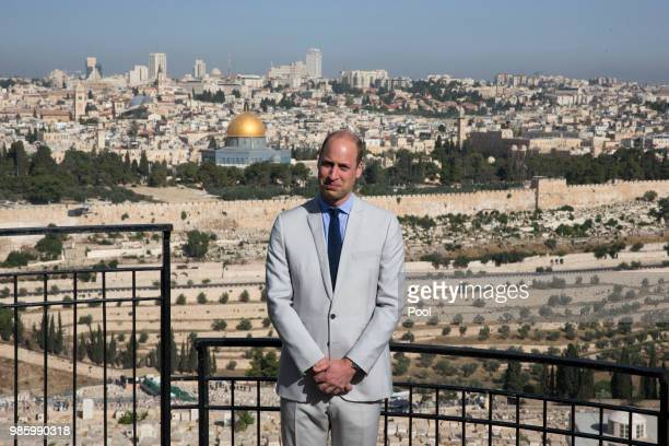 Prince William Duke of Cambridge visits the Mount of Olives on June 28 2018 in Jerusalem Israel Prince William is on the final day of his official...